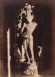 Close view of statue of Karttikeya on the façade of the sanctuary of the Rajalinga Temple, Bhubaneshwar